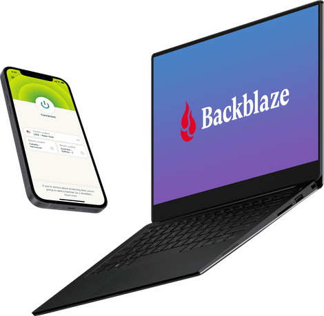 mobile phone with ExpressVPN and laptop with Blackblaze computer backup