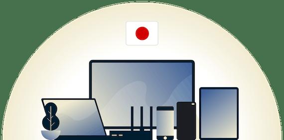 VPN for Japan som beskytter et utvalg av enheter.