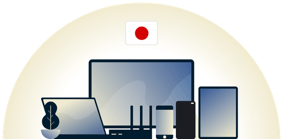 Japan VPN protecting a variety of devices.