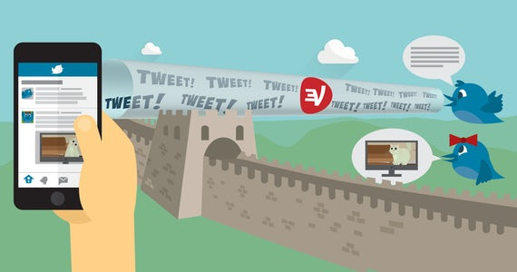 Twitter birds tweeting over a firewall: Use a VPN to unblock Twitter anywhere.