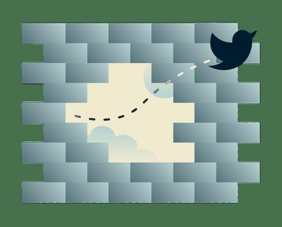 Güvenlik duvarı üzerinde cikcikleyen twitter kuşları: Twitter'a engeli her yerden kaldırmak için VPN kullanın.
