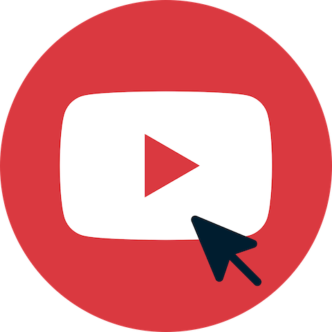 Pil over YouTube Subscribe-knapp.