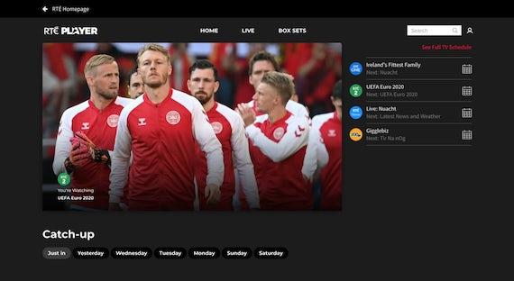 RTÉ Player on a desktop screen.