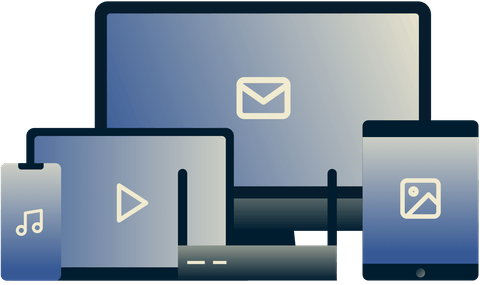 Various devices used for different media and email.