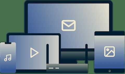Diversos dispositivos utilizados para diferentes medios y correo electrónico.