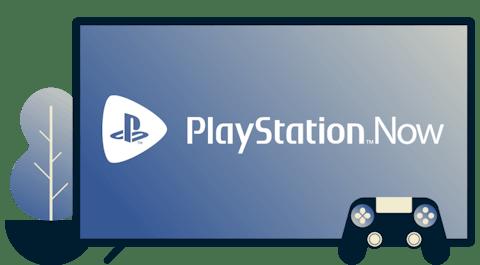 Pantalla con el logotipo de Playstation Now, un controlador y una planta.