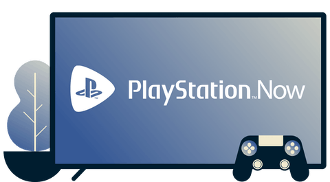 Screen with Playstation Now logo, controller, and a plant.