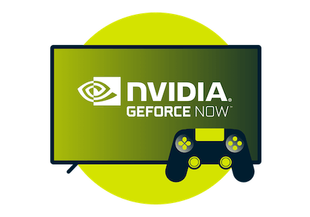Nvidia GeForce Now logo on screen with a controller
