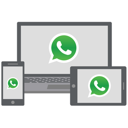 WhatsApp on laptop, mobile phone, and tablet.