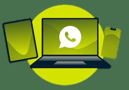 WhatsApp su laptop, cellulare e tablet.