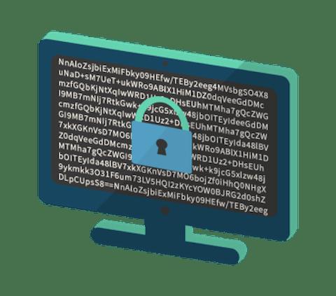En bärbar dator med ett lås som indikerar krypterad trafik.