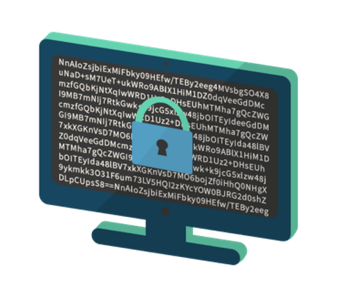 A desktop with a lock signifying encrypted traffic.