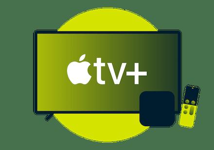 Apple TV+ Logo auf einem Desktop-Bildschirm.