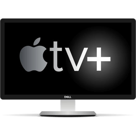 Logo Apple TV+ su uno schermo desktop.