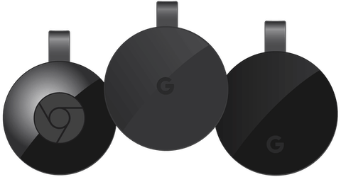 Various Chromecast models' consoles and remotes.