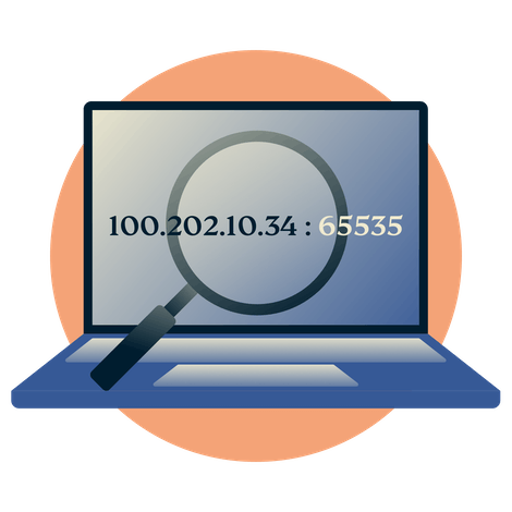 Laptop with port number and magnifying glass