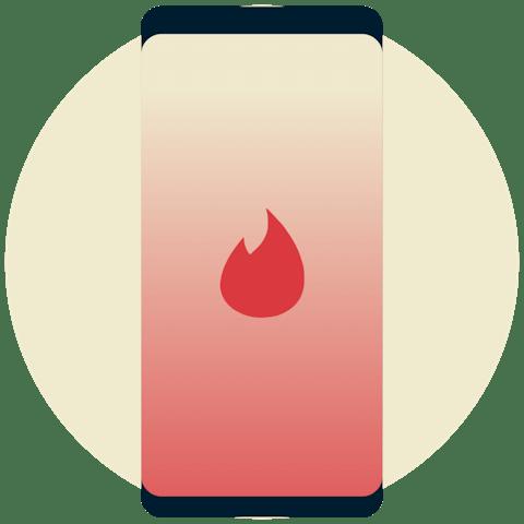 Tinder-logotyp på en telefon.