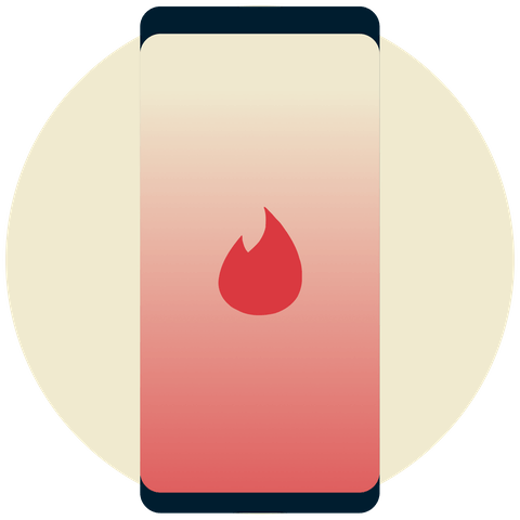 Tinder logo on a phone.