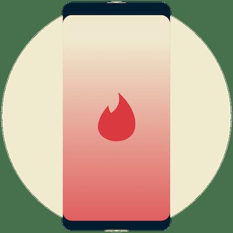 Bir telefonda Tinder logosu.