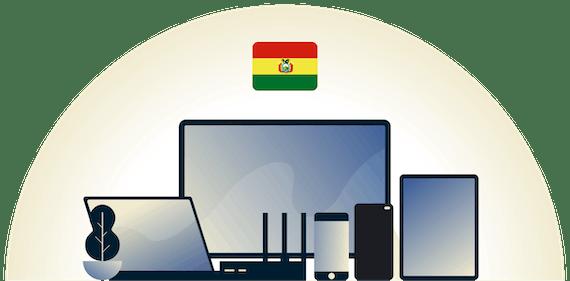VPN en Bolivia protegiendo a una variedad de dispositivos.