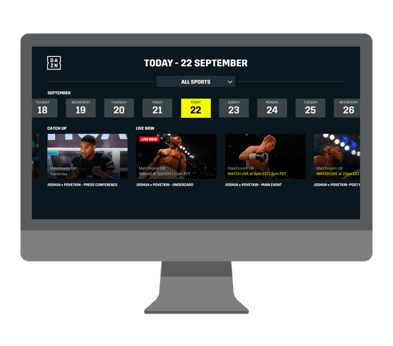 Dazn on a computer monitor.