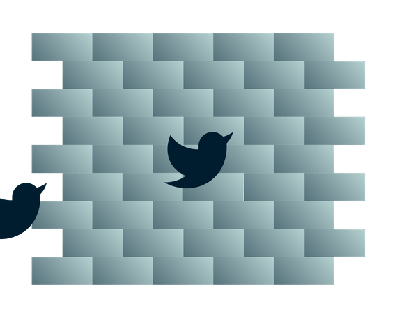 Twitter birds heading into a wall.