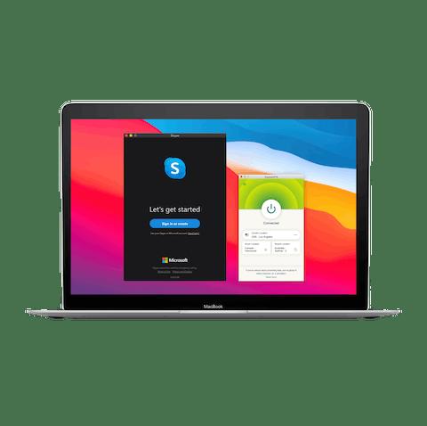 Skype-bukergrensesnitt med VPN.