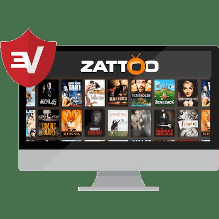 Zattoo on a desktop with the ExpressVPN shield.