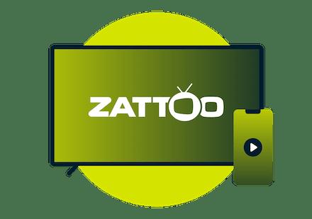 Laptop i telefon z logo Zattoo.