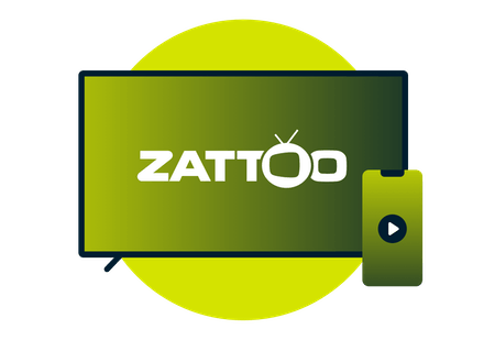 En TV og en telefon med Zattoo-logo.
