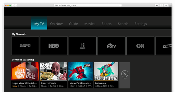 Screen shot of Sling TV's homepage.