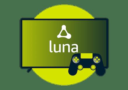 Amazon Luna logo op scherm met een controller.