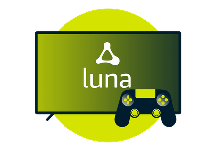 Amazon Luna logo on screen with a controller.