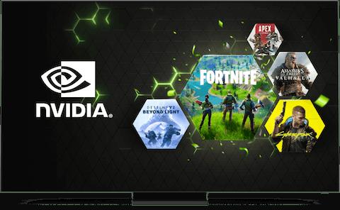Экран с логотипами Nvidia и онлайн-игр.