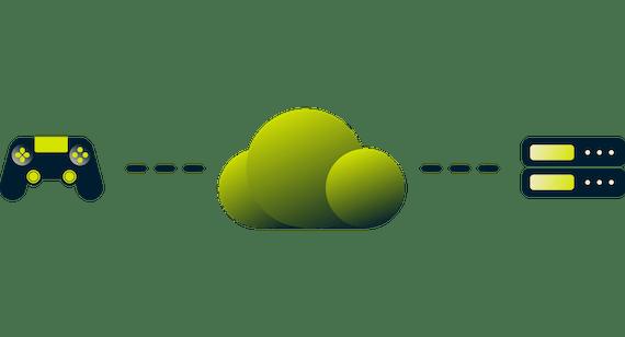 クラウドを介してサーバーに接続するゲームコントローラー。