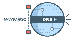 Circular DNS logo showing a DNS request being blocked