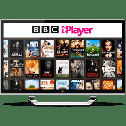 テレビモニターに映るBBC iPlayerのホーム画面。
