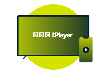 A laptop and phone with the BBC iPlayer logo.