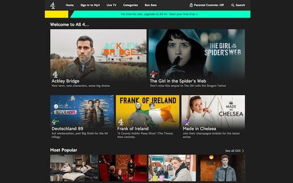 Channel 4 สหราชอาณาจักร หน้าจอหลัก All 4 และรายการโชว์