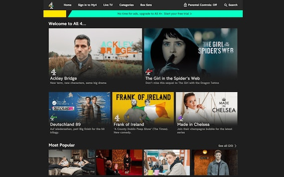 The Channel 4 UK All 4 app homescreen and shows