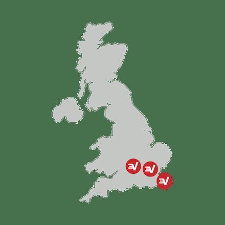 Britisk kort, der viser sikre VPN-placeringer.