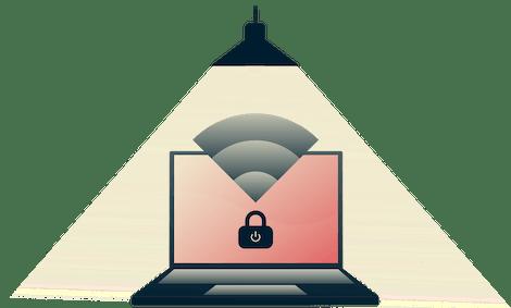 Il Network Lock ferma il traffico internet se la tua connesione VPN cade improvvisamente. Lampada accesa su un computer protetto.