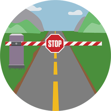 Checkpoint with stop sign. Network Lock halts all internet traffic whenever your VPN connection drops.