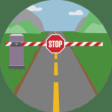 Checkpoint med stopskilt. Network Lock stopper al internettrafik, når din VPN-forbindelse afbrydes.