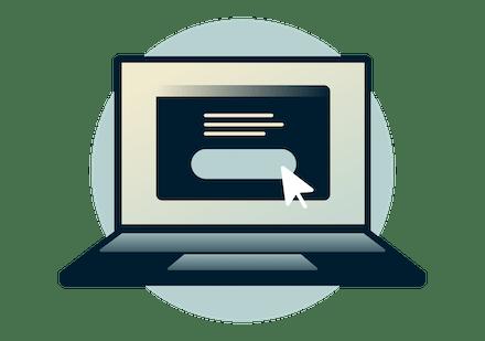 Bærbar datamaskin med registreringsskjermbilde