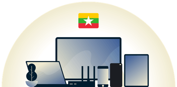 Myanmar VPN protecting a variety of devices.