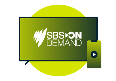 Television screen, smartphone, and SBS On Demand logo.