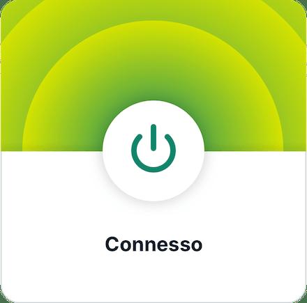 Interfaccia utente app ExpressVPN (iOS): VPN connessa.