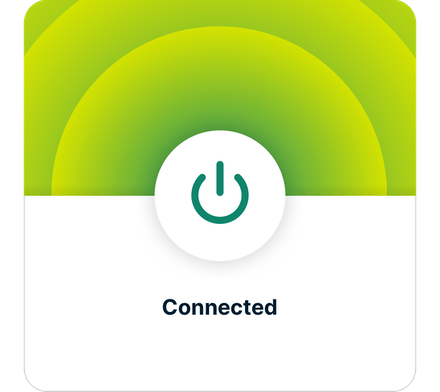 Interfaccia utente app ExpressVPN (iOS): VPN connessa.