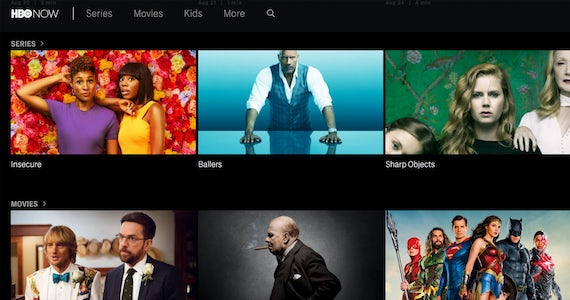HBO Now series selection screen.